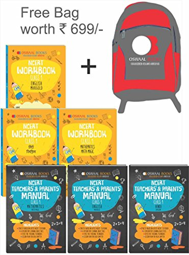 Oswaal NCERT Workbook with Teachers & Parents Manual Class 1 (Set of 6 Books) Math Magic, English Marigold, Hindi Rimjhim (For March 2019 Exam) (Free Bag worth INR 699)