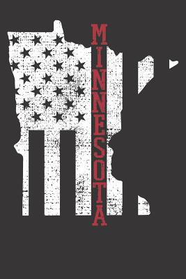 Notebook: Dot Grid Dotted 6x9 120 Pages Minnesota Vintage Retro USA Flag America Merica 4th Of July