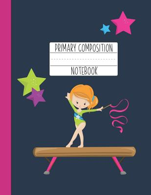 Primary Composition Notebook: A Purple Gymnastics Primary Composition Notebook For Girls Grades K-2 Featuring Handwriting Lines - Ginger Girl Gifts