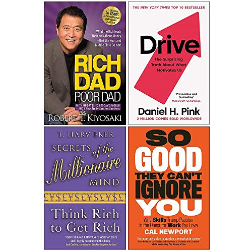 Rich Dad Poor Dad, Drive Daniel H. Pink, Secrets of the Millionaire Mind, So Good They Can't Ignore You 4 Books Collection Set