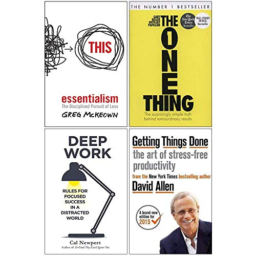 Essentialism, The One Thing, Deep Work, Getting Things Done 4 Books Collection Set