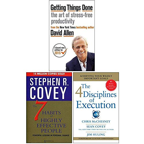 Getting Things Done, The 7 Habits of Highly Effective People, 4 Disciplines of Execution 3 Books Collection Set