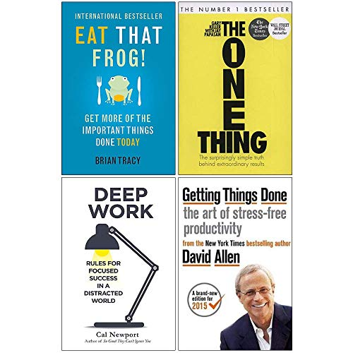 Eat That Frog, The One Thing, Deep Work, Getting Things Done 4 Books Collection Set