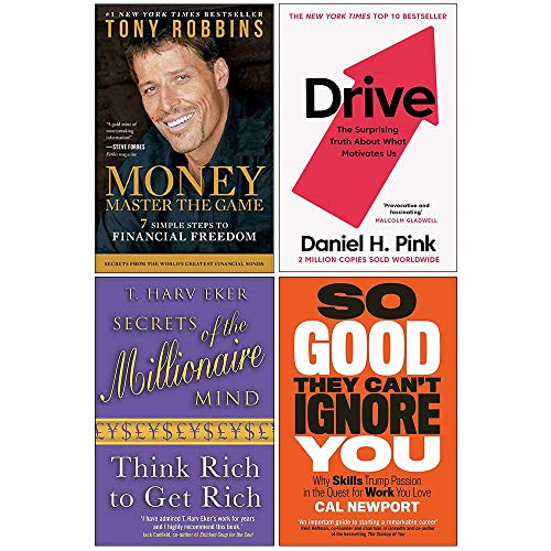 Money Master the Game, Drive Daniel H. Pink, Secrets of the Millionaire Mind, So Good They Can't Ignore You 4 Books Collection Set