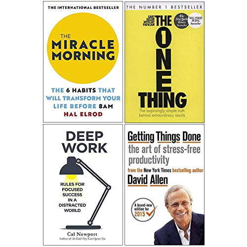 The Miracle Morning, The One Thing, Deep Work, Getting Things Done 4 Books Collection Set