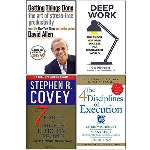 Getting Things Done, Deep Work, The 7 Habits of Highly Effective People, 4 Disciplines of Execution 4 Books Collection Set