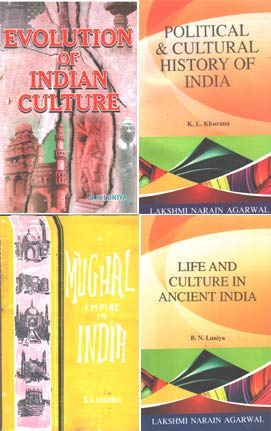 A Set of 4 Books ( Mughal Empire In India+Evolution Of Indian Culture+Life And Culture In Ancient India+Political And Cultural History of India)