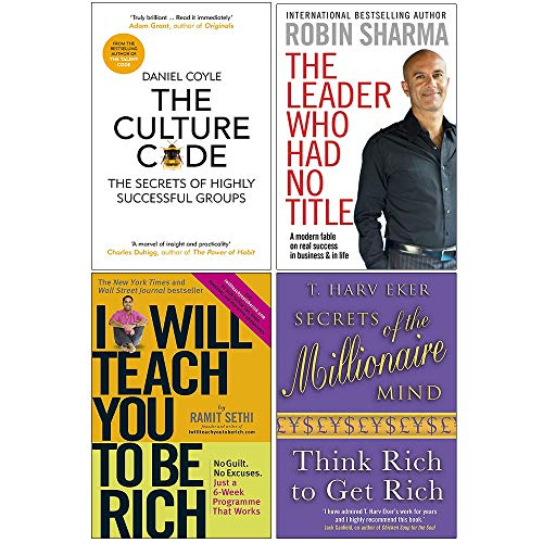 The Culture Code, The Leader Who Had No Title, I Will Teach You To Be Rich, Secrets of the Millionaire Mind 4 Books Collection Set