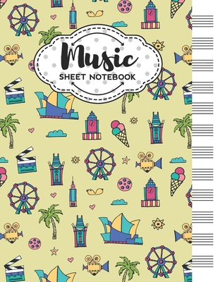 Music Sheet Notebook: Blank Staff Manuscript Paper with Los Angeles Themed Cover Design