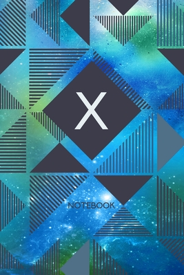 X - Notebook: Monogram Initial X - Personalized Blank Wide Lined Journal Gift with Modern Green & Blue Contemporary Starry Space Paint Splatter with Geometric Design for Men & Women