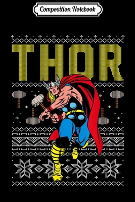 Composition Notebook: Marvel Thor Retro Ugly Sweater Christmas Graphic Journal/Notebook Blank Lined Ruled 6x9 100 Pages