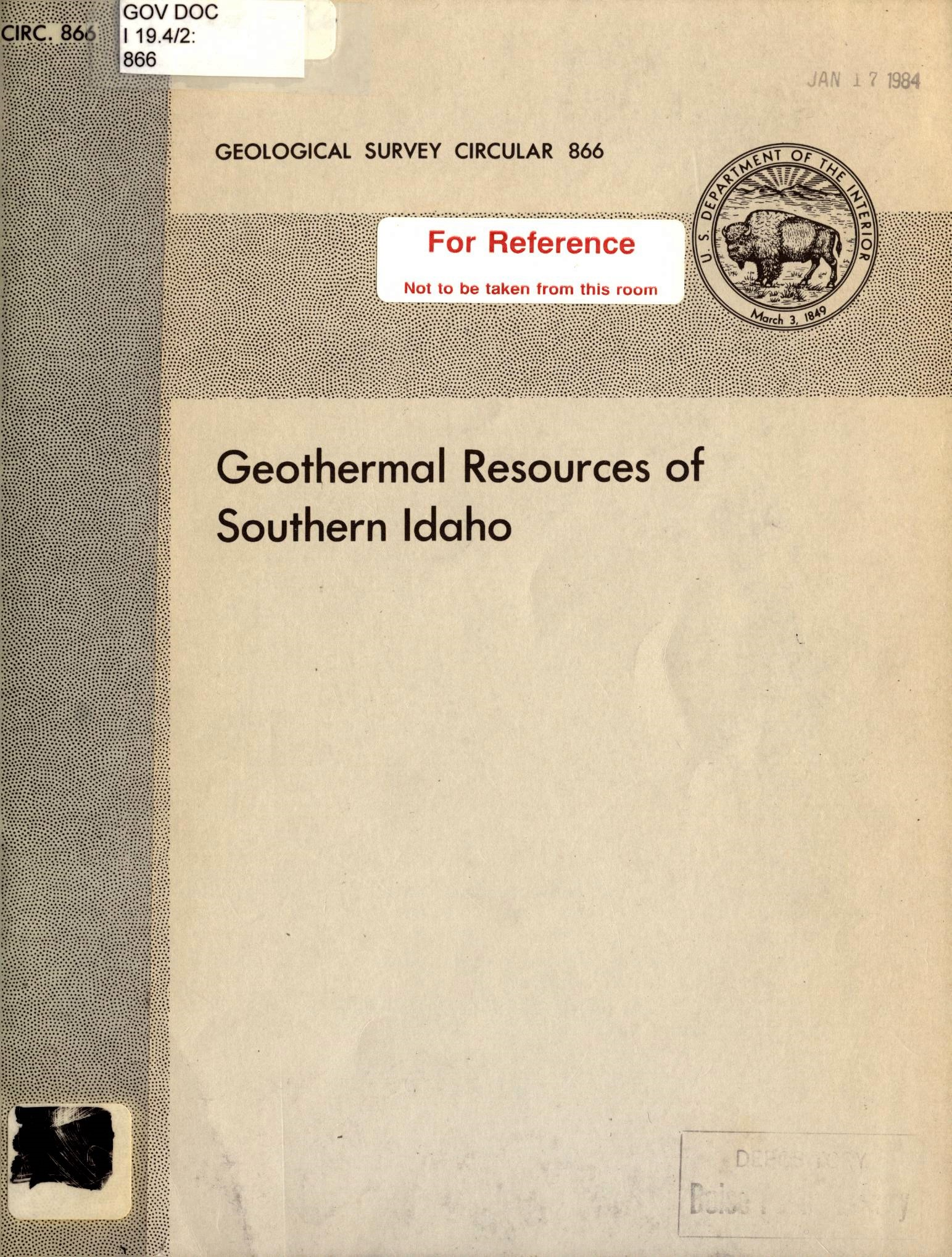 Geothermal Resources of Southern Idaho