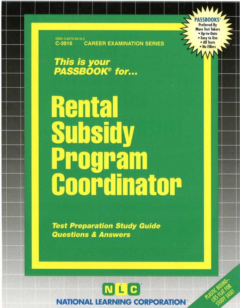 Rental Subsidy Program Coordinator: Passbooks Study Guide