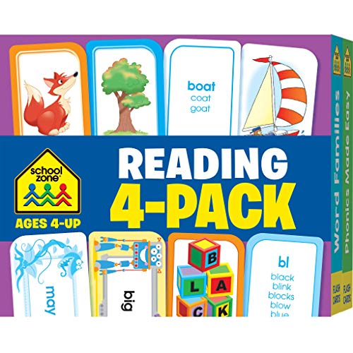 School Zone - Reading Flash Card 4 Pack - Ages 4 and Up, Preschool, Kindergarten, Picture Words, Phonics, Sight Words, Rhyming, Vowels, and More (Flash Card 4-pk)