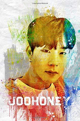 """Joohoney: Monsta X Member Color Splatter Art 100 Page 6 x 9"""" Blank Lined Notebook Kpop Monbebe Merch Journal Book"""