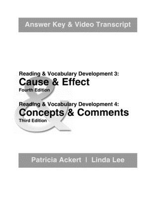 Cause & Effect;. Answer Key & Video Transcript: Concepts & Comments