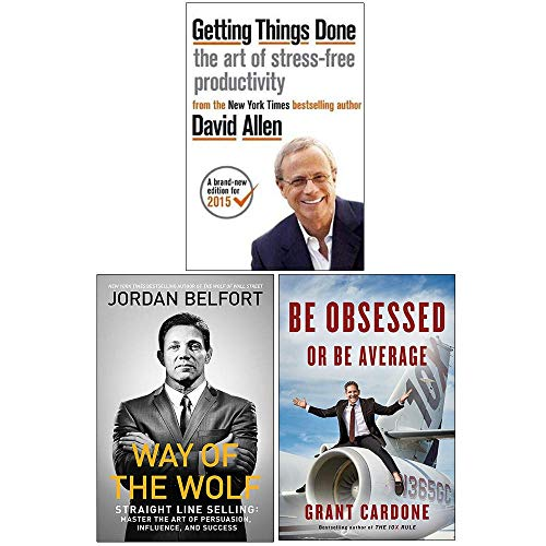 Getting Things Done, Way of the Wolf, [Hardcover] Be Obsessed Or Be Average 3 Books Collection Set