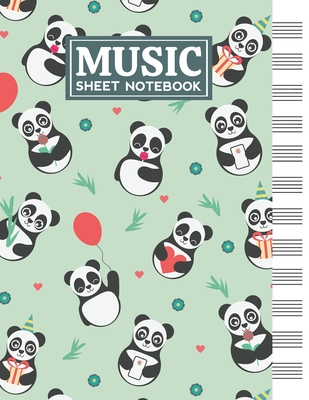 Music Sheet Notebook: Blank Staff Manuscript Paper with Panda Themed Cover Design