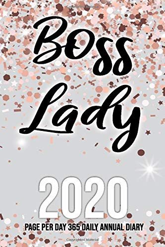 Boss Lady 2020 Page Per Day 365 Annual Diary: Rose Gold Glitter Sparkle 365 Daily and Monthly 2020 Diary with monthly calendar and daily 6am - 8pm ... for appointments lovely, Christmas gift.