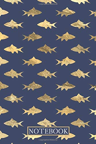 Notebook: Lined Notebook Journal -Shark Pattern Blue And Gold Mermaid Design - 120 Pages - Large (6 x 9 inches)