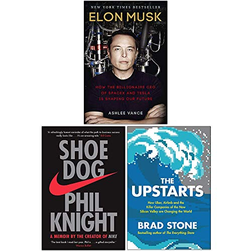 Elon Musk How the Billionaire CEO of SpaceX, Shoe Dog A Memoir by the Creator of Nike, [Hardcover] The Upstarts 3 Books Collection Set