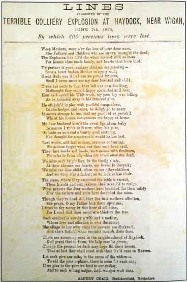 Lines Suggested by the Terrible Colliery Explosion at Haydock, Near Wigan, June 7th, 1878, By Which 200 Precious Lives Were Lost