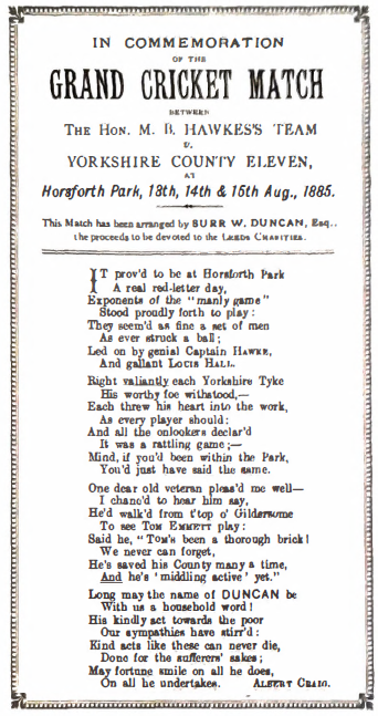 In Commemoration of the Grand Cricket Match Between the Hon. MB Hawkes's Team v Yorkshire County Eleven, Horsforth Park, 13th, 14th & 16th Aug., 1885