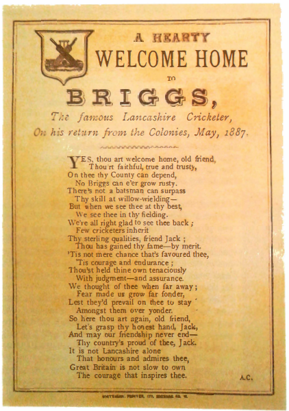 A Hearty Welcome Home to Briggs, the Famous Lancashire Cricketer, on His Return From the Colonies, May, 1887