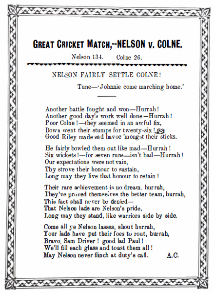 Great Cricket Match: Nelson v Colne