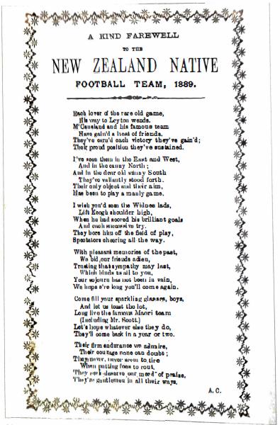 A Kind Farewell to the New Zealand Native Football Team, 1889