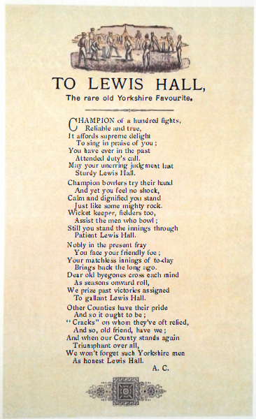 To Lewis Hall, the Rare Old Yorkshire Favourite