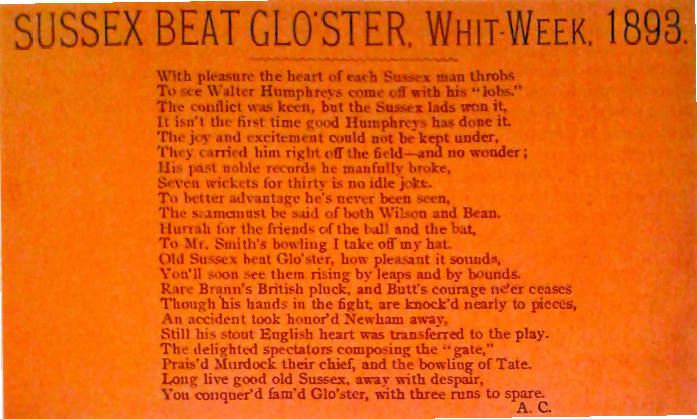 Sussex Beat Glo'ster: Whit-week, 1893