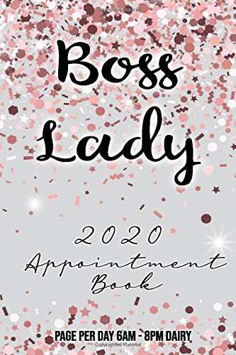 Boss Lady 2020 Appointment Book Page Per Day 6am - 8pm Diary: Sparkle Pink Beautiful 365 Daily and Monthly 2020 Diary with monthly calendar and daily ... for appointments lovely, Christmas gift.
