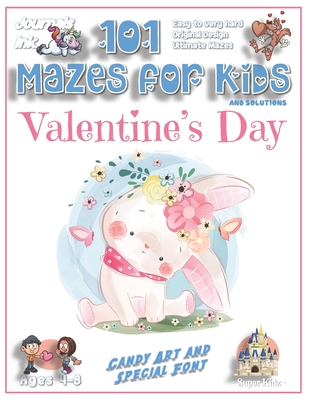 101 Mazes for Kids: SUPER KIDZ Book. Children - Ages 4-8 (US Edition). Cute Custom Candy Art Interior. 101 Puzzles & Solutions. Painted Baby Bunny, Floral. Easy to hard learning levels. Unique challenges and ultimate mazes for a fun activity gift!
