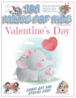 101 Mazes for Kids: SUPER KIDZ Book. Children - Ages 4-8 (US Edition). Cute Custom Candy Art Interior. 101 Puzzles & Solutions. Painted baby Elephant, Heart. Easy to hard learning levels. Unique challenges and ultimate mazes for a fun activity gift!