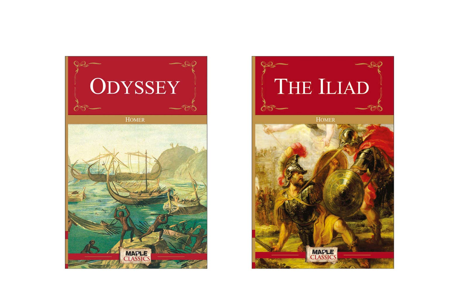 Homer (Set of 2 Books) - Odyssey and The Illiad