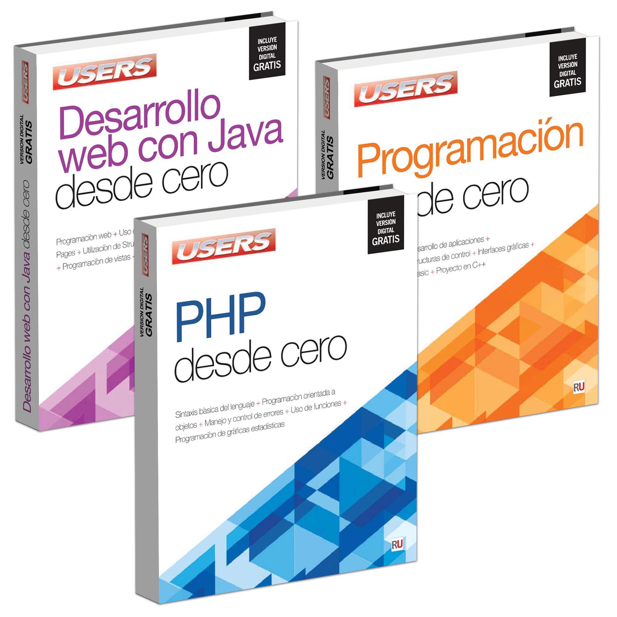 Pack 3 Libros: DESARROLLO WEB CON JAVA DESDE CERO; PROGRAMACION DESDE CERO; PHP DESDE CERO