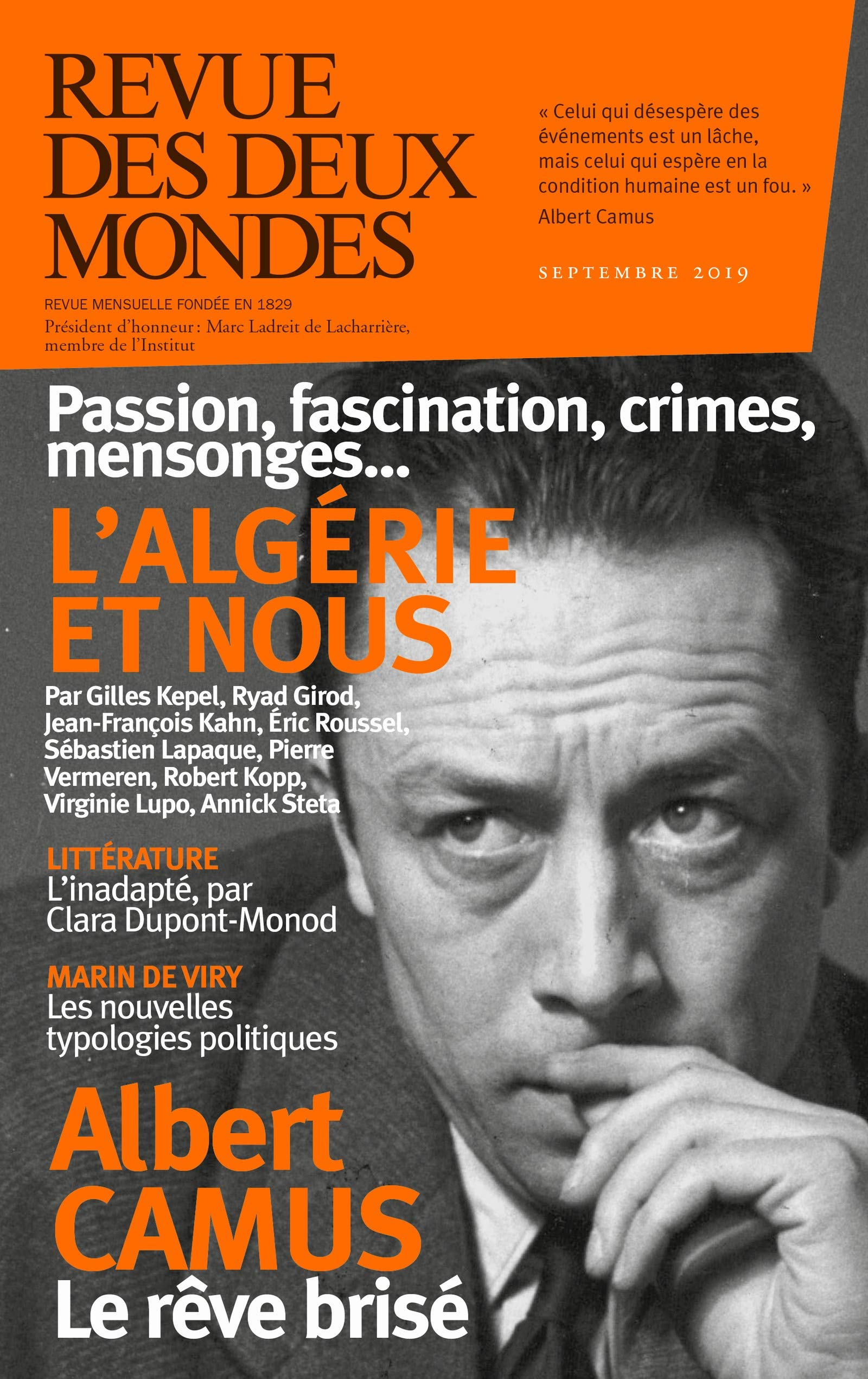 Revue des Deux Mondes septembre 2019: L'Algérie et nous