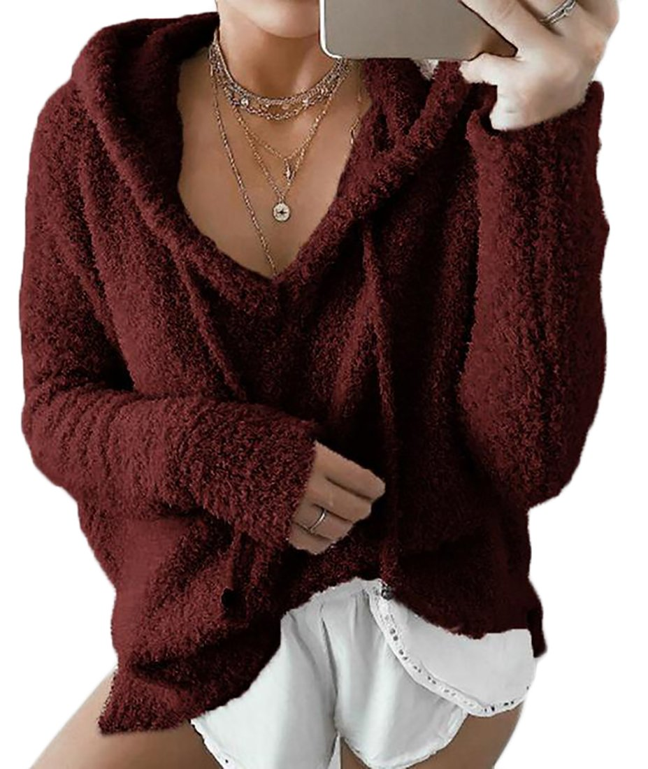 Womens Mohair Long Sleeve Tops Winter Warm Blouse Sweatshirt Hoodie Pullover