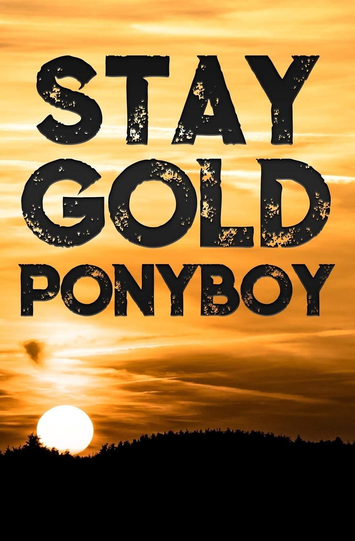 Stay Gold Ponyboy: A Lined Notebook inspirational Motivational Quotes Stay Gold Ponyboy Stay Gold