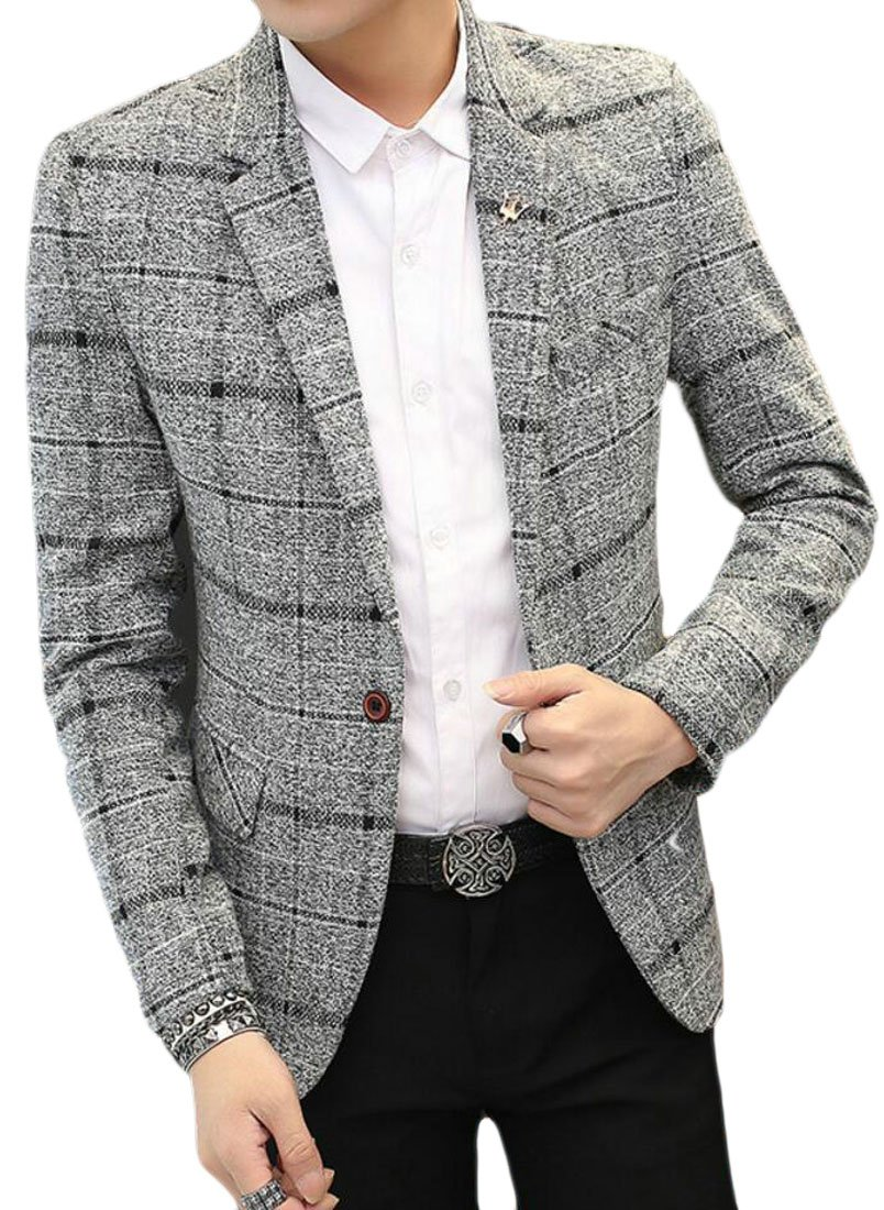SHOWNO Men Business Casual Single Button Tuxedo Slim Checkered Blazer Jacket Coat