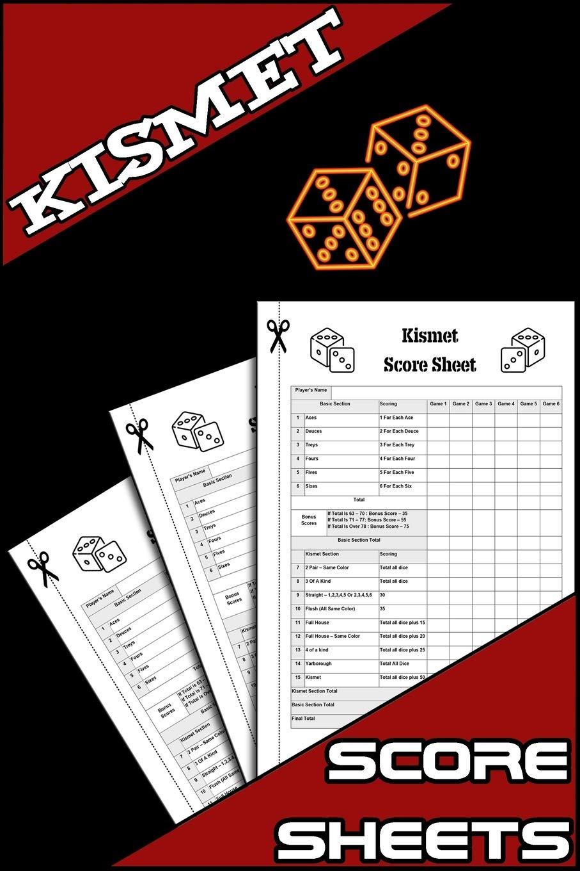 Kismet Score Sheets: 100 Kismet Dice Game Score Sheets, Kizmet Score Pads, Kismet Scoring Notebook