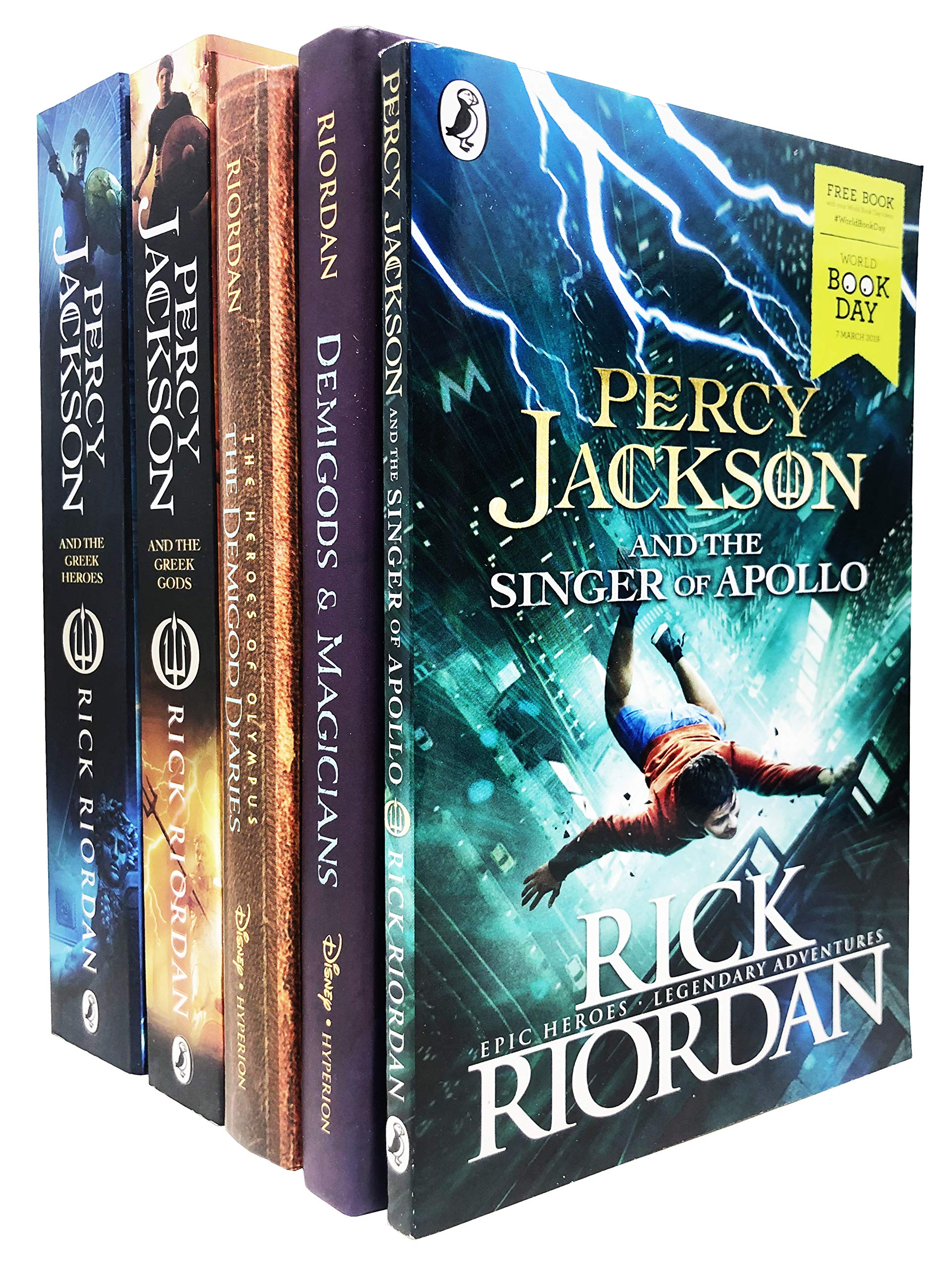 Rick Riordan Collection 5 Books Set - Percy Jackson and The Greek Heroes, The Greek Gods, The Demigod Diaries, Demigods and Magicians, Singer of Apollo WBD 2019
