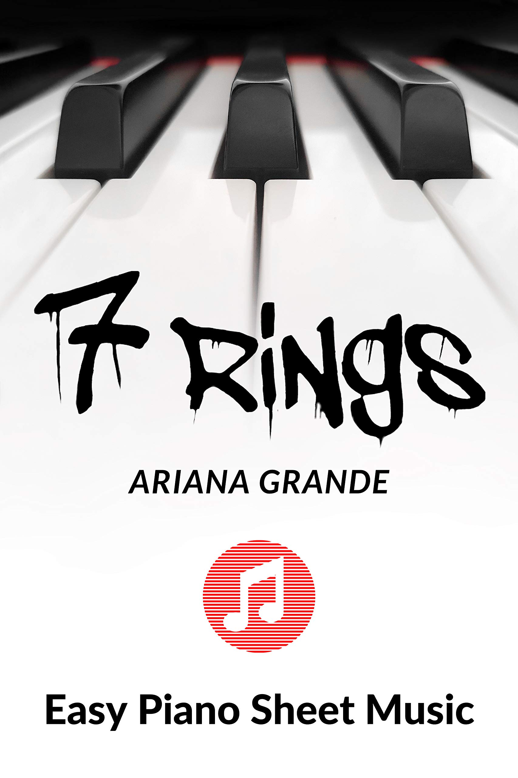 7 Rings - Ariana Grande - Easy Piano Sheet Music - Big Note: A fragment of the song, in a very simple piano arrangement for kids, young musicians, students, teachers and elderly people.