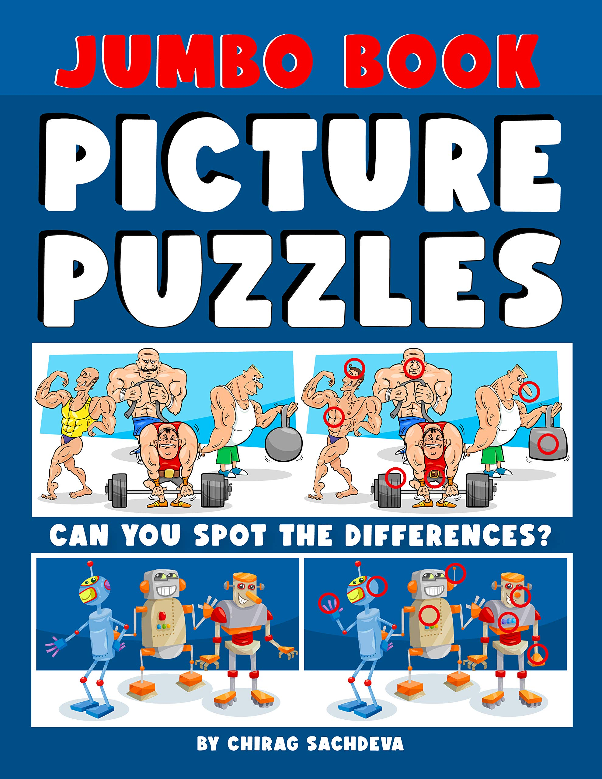 Jumbo Book of Picture Puzzles: Picture Puzzle Spot the Differences Book for Kids & Adults, 50 Beautiful Cartoon Puzzles of Artworks with Solution - FREE 12 IQ Test Activities.