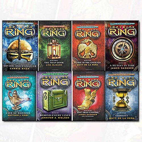 Infinity Ring Series Collection 8 Books By James Dashner Set (A Mutiny in Time, Divide and Conquer, The Trap Door, The Curse of the Ancients, Cave of Wonders..