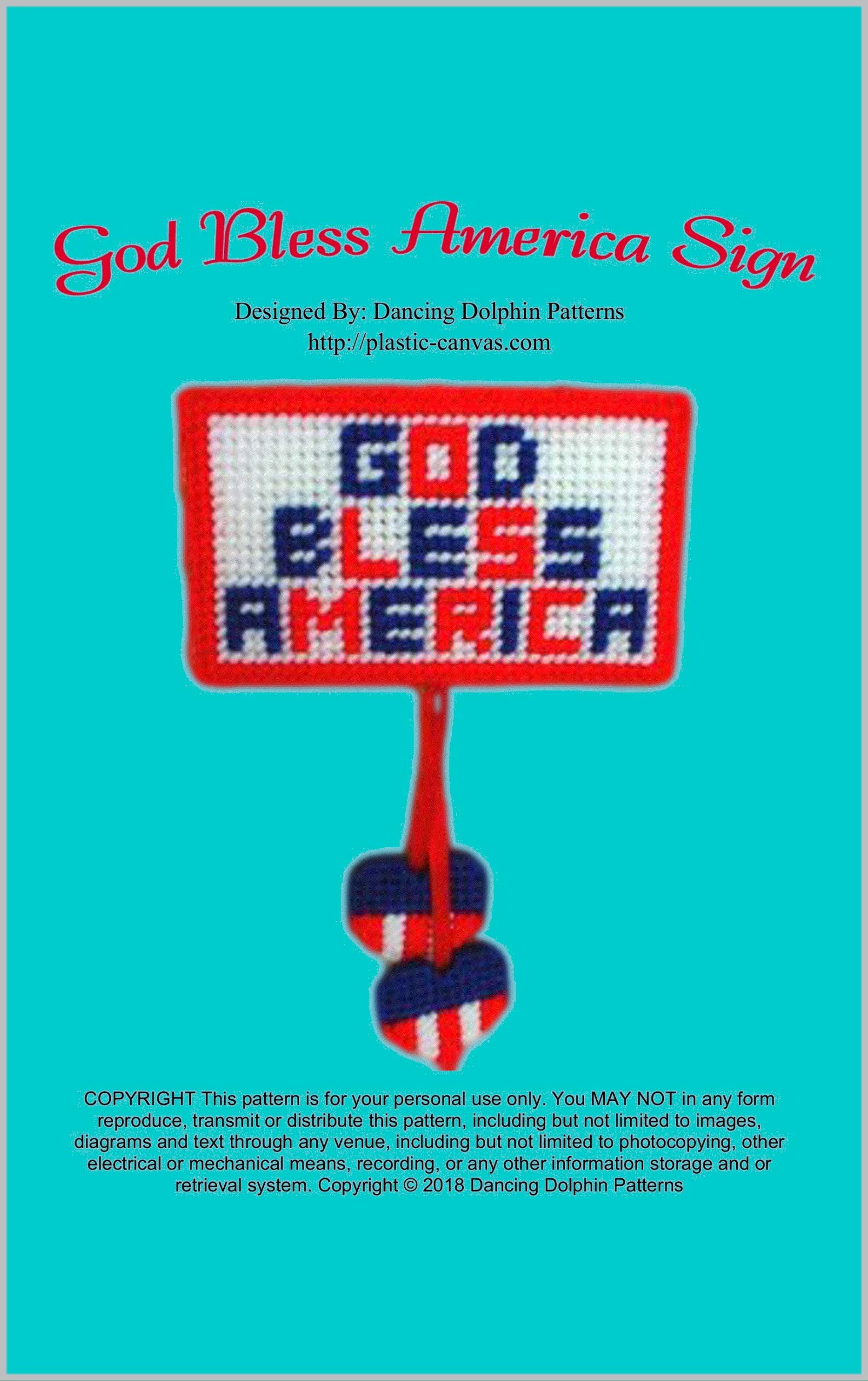 God Bless America Sign: Plastic Canvas Pattern