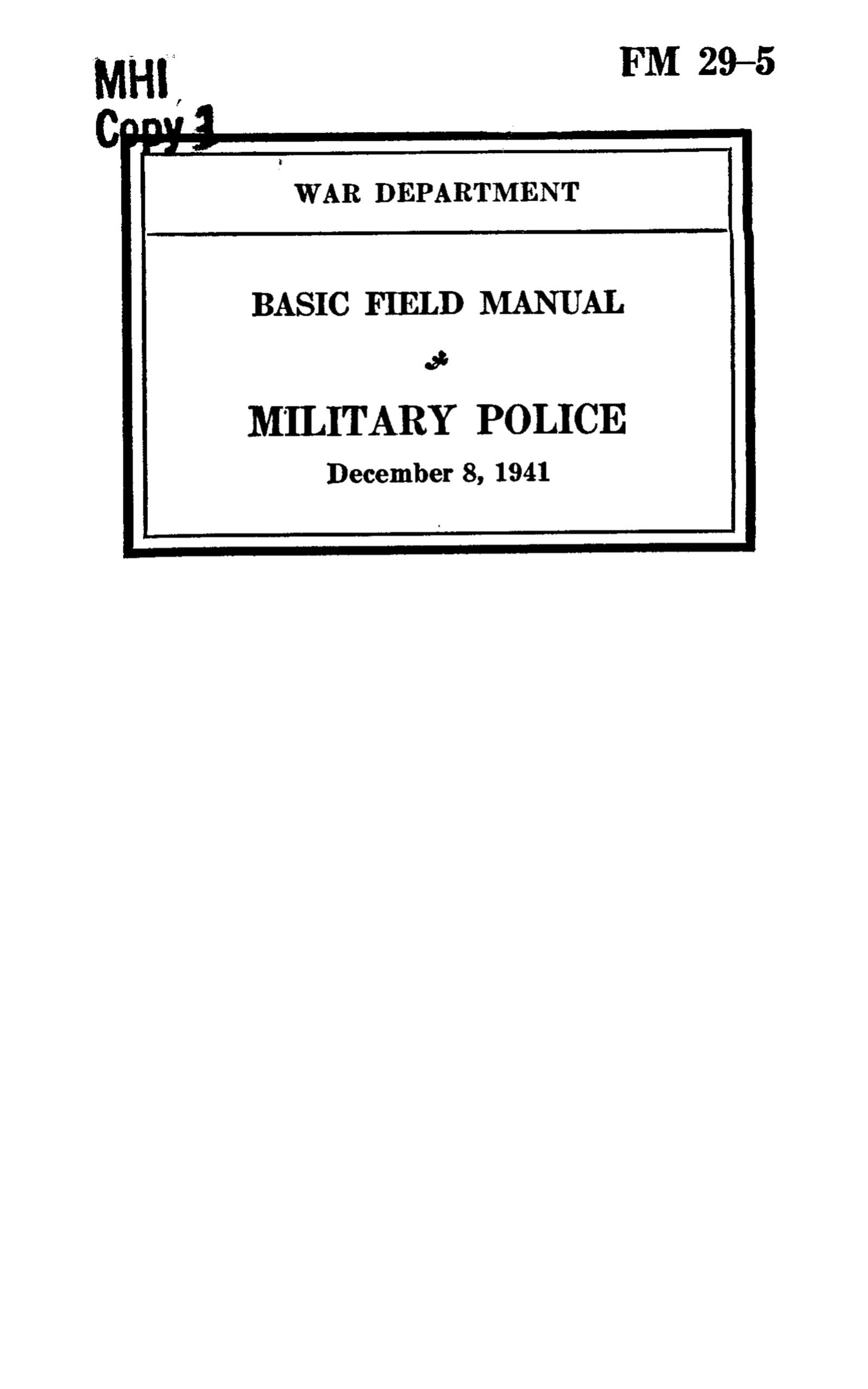 FM 29-5 1941: Basic Field Manual, Military Police