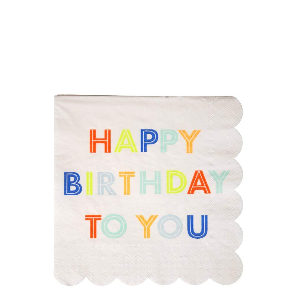 Meri Meri Neon Happy Birthday Square Paper Napkins - Disposable Party Supplies, For Birthday Parties, Large 6.5 x 6.5 Inch Size, 20 Count