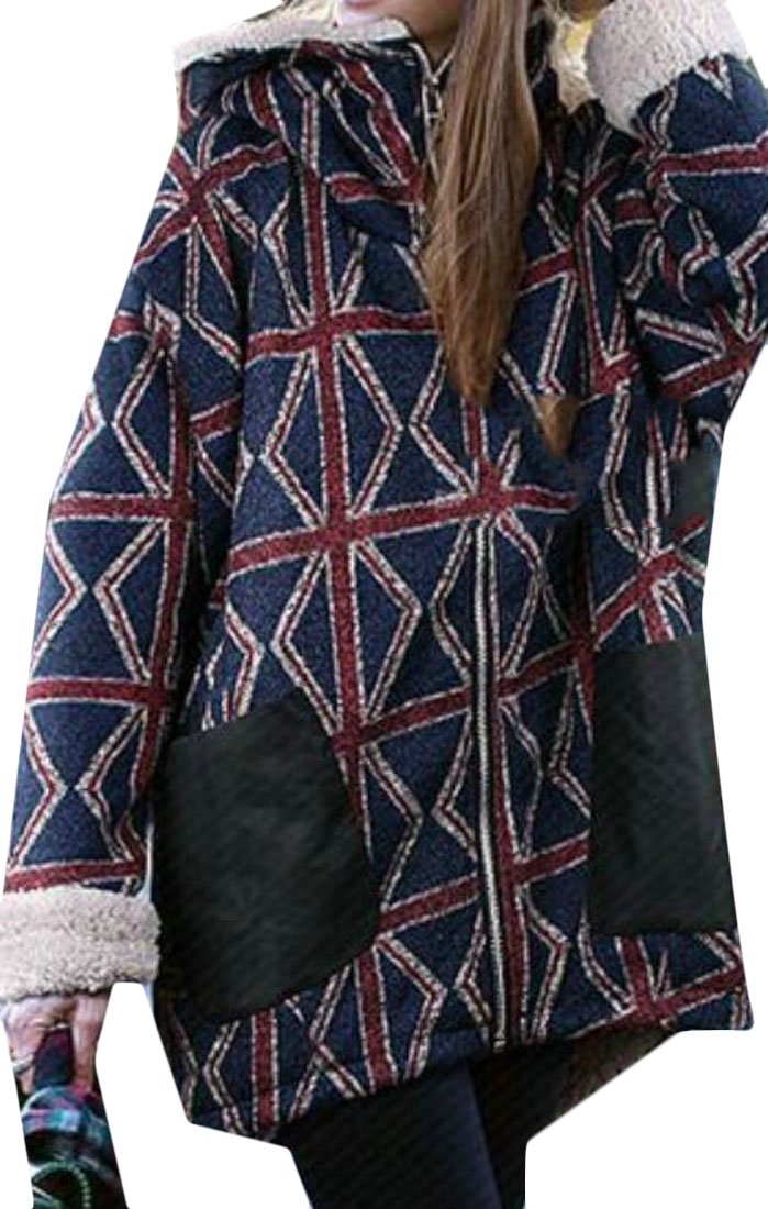 KLJR-Women Plus Size Plaid Sherpa Lined Down Quilted Coat Hoodie Jacket